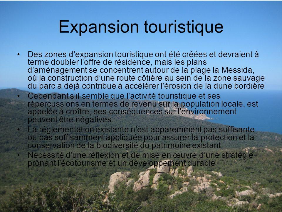 Expansion touristique Des zones dexpansion touristique ont été créées et devraient à terme doubler loffre de résidence, mais les plans daménagement se
