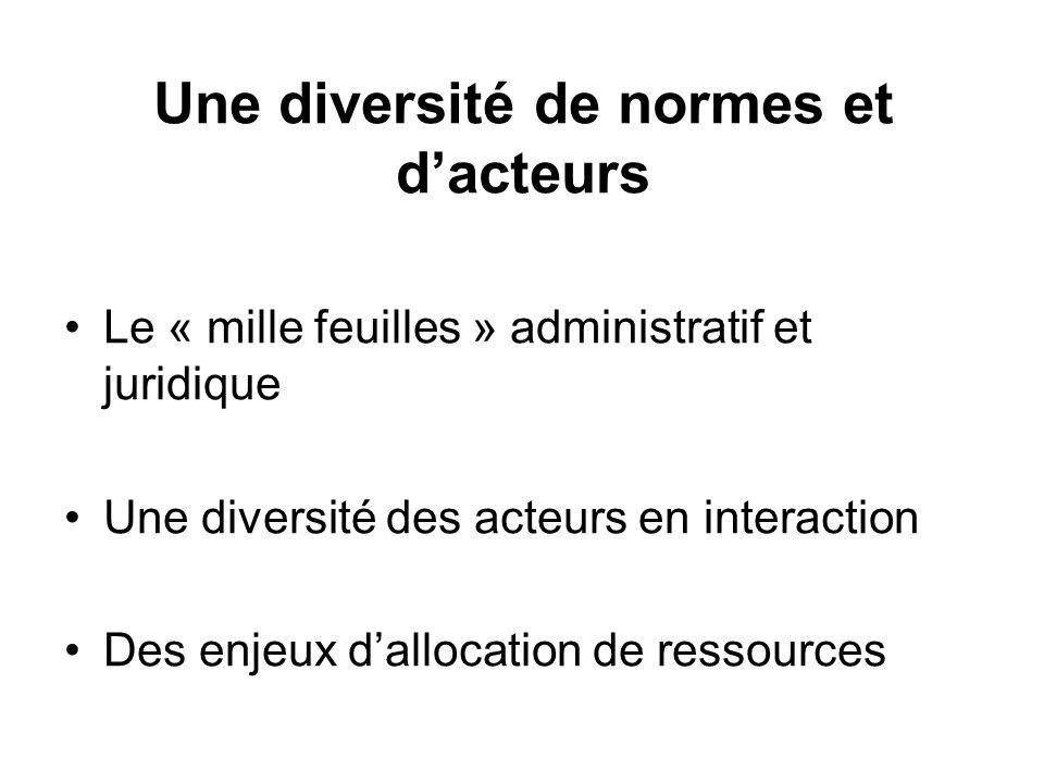 Une diversité de normes et dacteurs Le « mille feuilles » administratif et juridique Une diversité des acteurs en interaction Des enjeux dallocation d