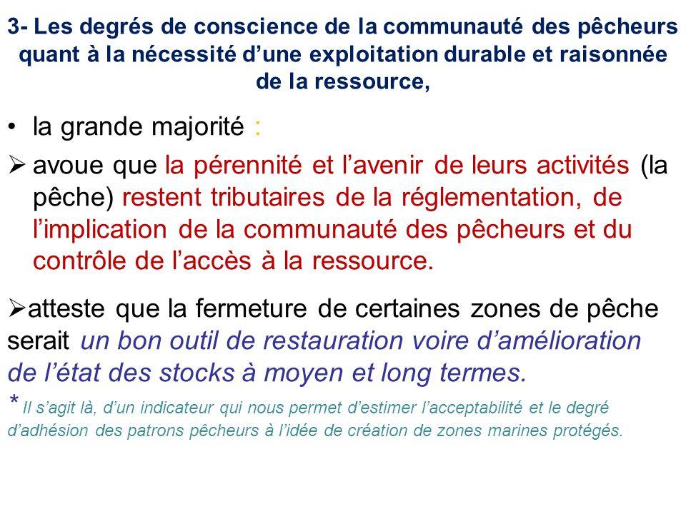 3- Les degrés de conscience de la communauté des pêcheurs quant à la nécessité dune exploitation durable et raisonnée de la ressource, la grande major