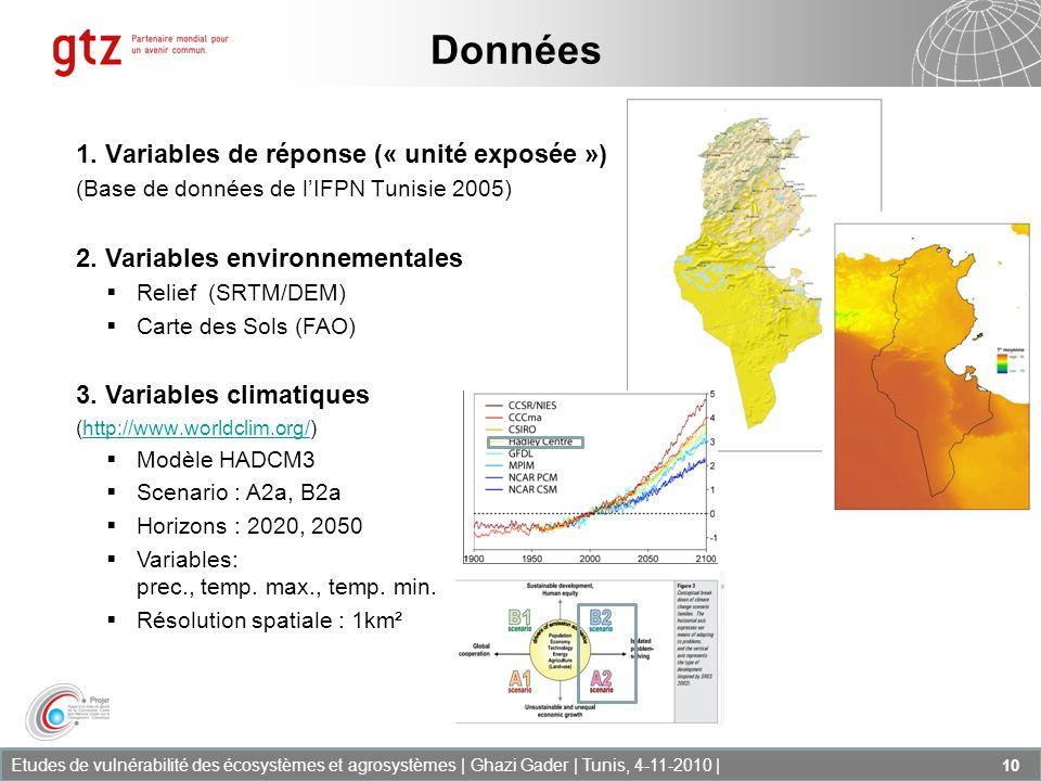 Etudes de vulnérabilité des écosystèmes et agrosystèmes | Ghazi Gader | Tunis, 4-11-2010 | 10 1. Variables de réponse (« unité exposée ») (Base de don