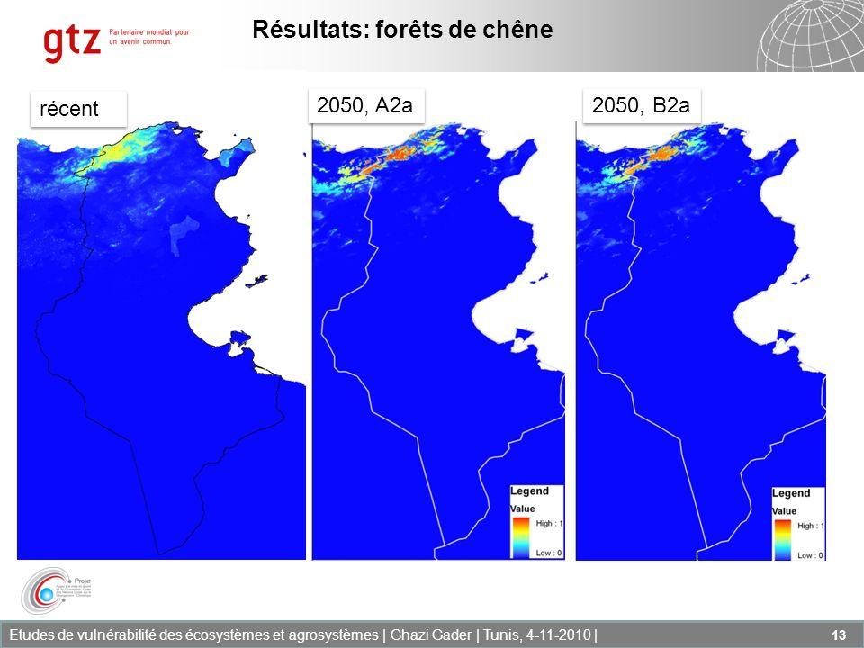 Etudes de vulnérabilité des écosystèmes et agrosystèmes | Ghazi Gader | Tunis, 4-11-2010 | 13 2050, A2a 2050, B2a Résultats: forêts de chêne récent