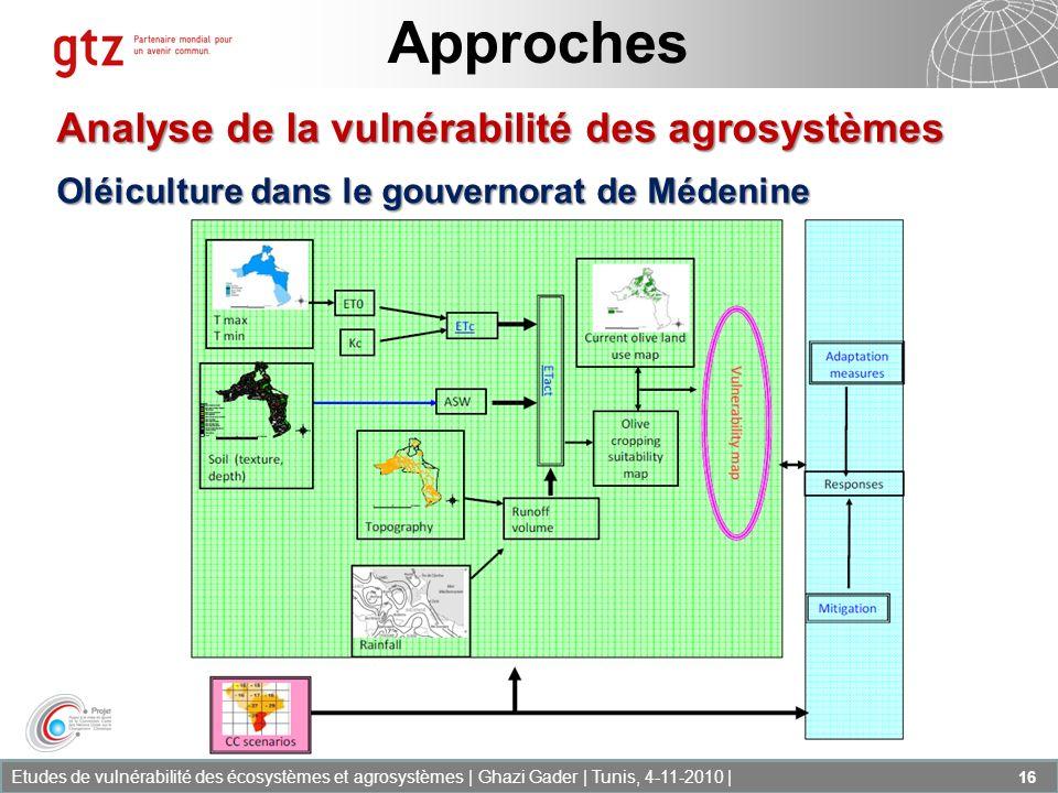 Etudes de vulnérabilité des écosystèmes et agrosystèmes | Ghazi Gader | Tunis, 4-11-2010 | 16 Approches Analyse de la vulnérabilité des agrosystèmes O