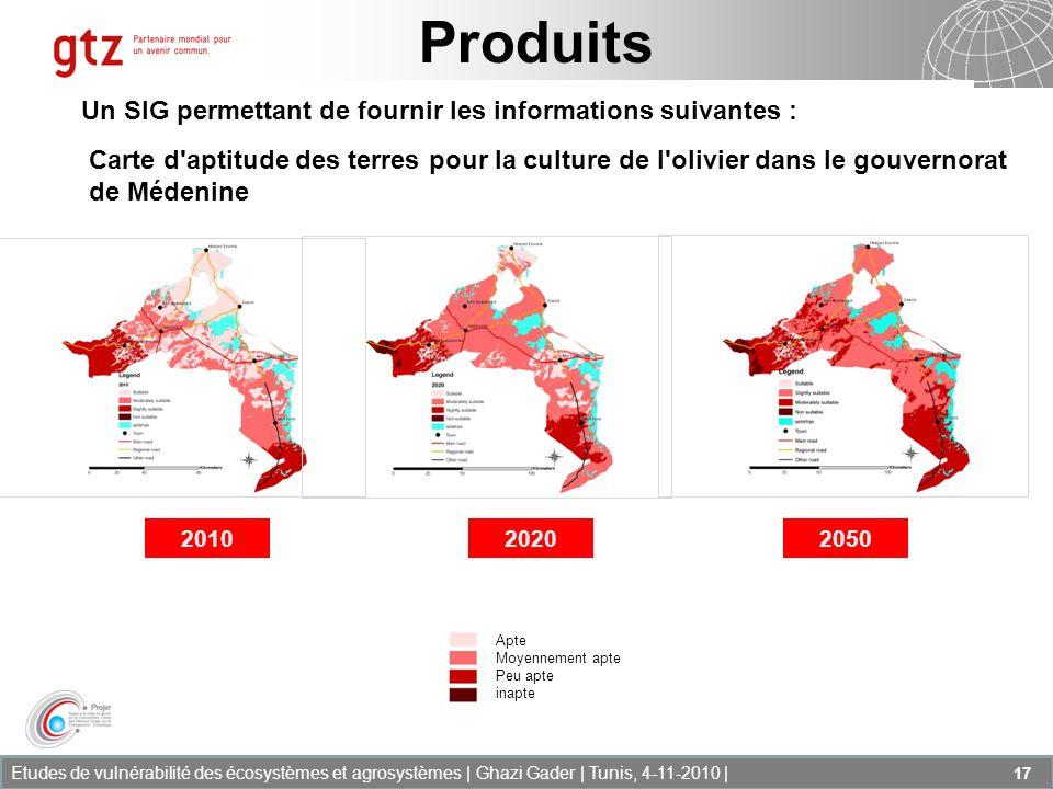 Etudes de vulnérabilité des écosystèmes et agrosystèmes | Ghazi Gader | Tunis, 4-11-2010 | 17 Produits Un SIG permettant de fournir les informations s