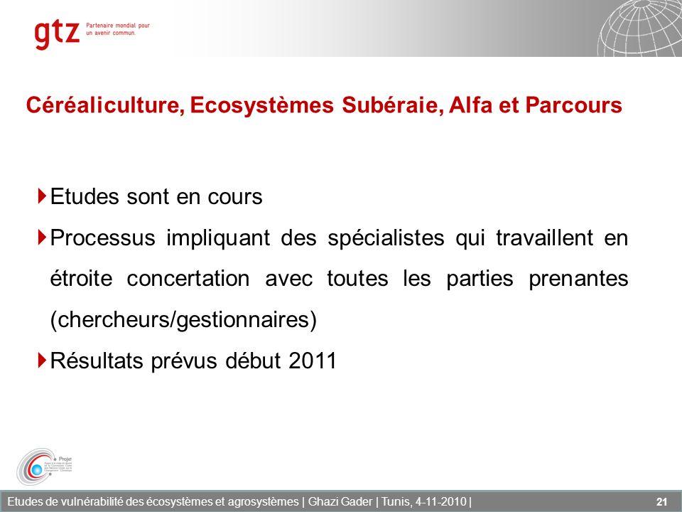 Etudes de vulnérabilité des écosystèmes et agrosystèmes | Ghazi Gader | Tunis, 4-11-2010 | 21 Etudes sont en cours Processus impliquant des spécialist
