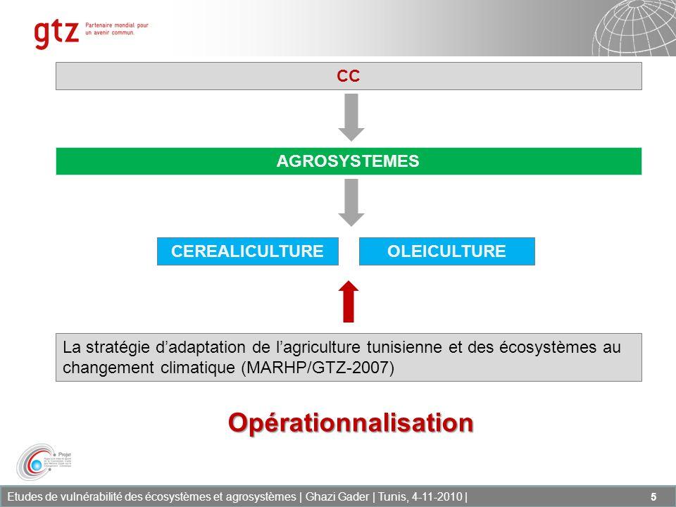 Etudes de vulnérabilité des écosystèmes et agrosystèmes | Ghazi Gader | Tunis, 4-11-2010 | 6 Evaluer les conséquences et les impacts du changement climatique sur les écosystèmes et agrosystèmes selon différents scénarii et différents horizons de CC, Mettre à la disposition des décideurs les résultats danalyse des risques et impacts attendus du CC sur les écosystèmes et agrosystèmes selon différents scénarii et différents horizons de CC, Recommander des mesures dadaptation visant à augmenter la résilience de ceux-ci et de préserver durablement la biodiversité et les services des écosystèmes.