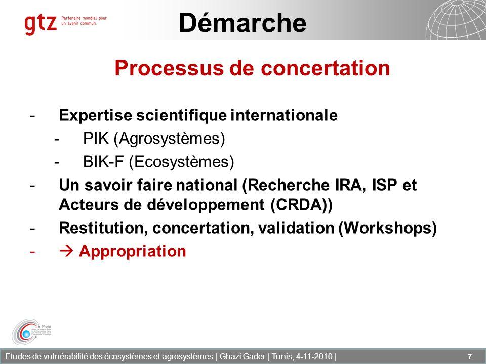 Etudes de vulnérabilité des écosystèmes et agrosystèmes | Ghazi Gader | Tunis, 4-11-2010 | 7 Démarche -Expertise scientifique internationale -PIK (Agr