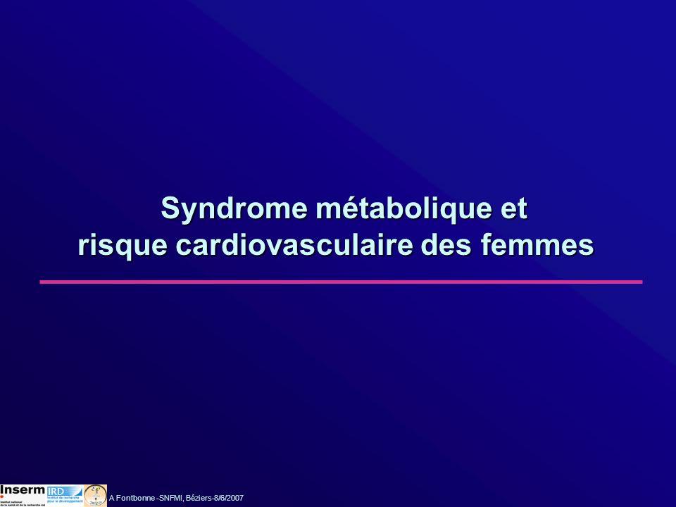 Arveiler et al., Eur J Cardiovasc Prev Rehab 2005:209 Différentiel dincidence des cardiopathies ischémiques selon le sexe Registres MONICA de Lille, Strasbourg et Toulouse A Fontbonne -SNFMI, Béziers-8/6/2007
