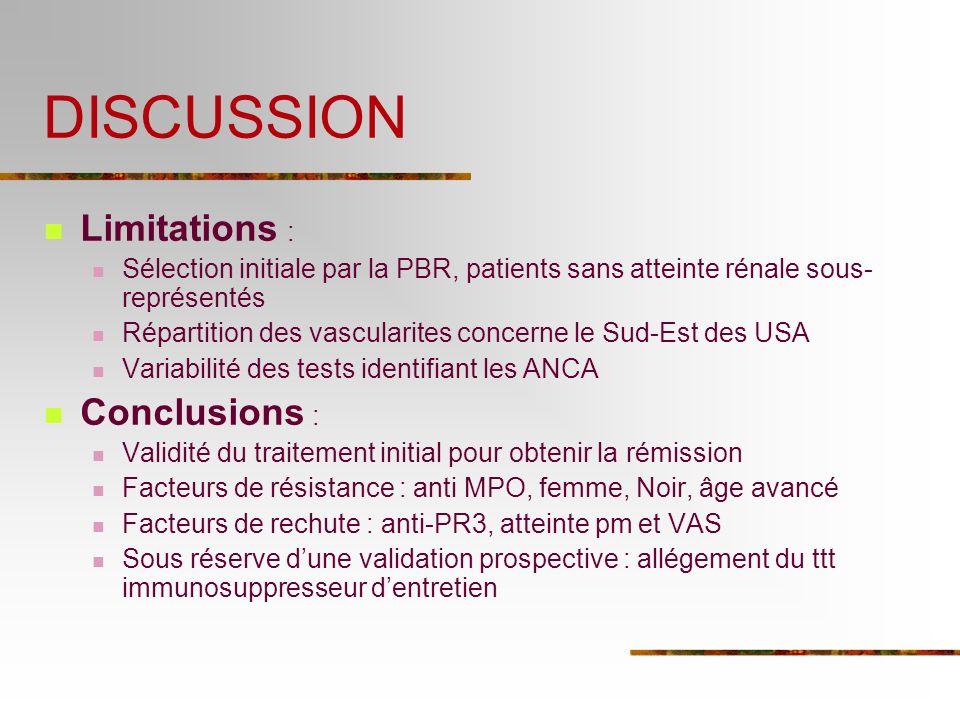 DISCUSSION Limitations : Sélection initiale par la PBR, patients sans atteinte rénale sous- représentés Répartition des vascularites concerne le Sud-E