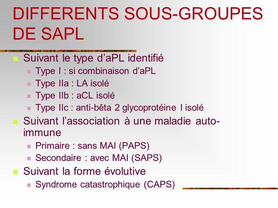 DIFFERENTS SOUS-GROUPES DE SAPL Suivant le type daPL identifié Type I : si combinaison daPL Type IIa : LA isolé Type IIb : aCL isolé Type IIc : anti-b