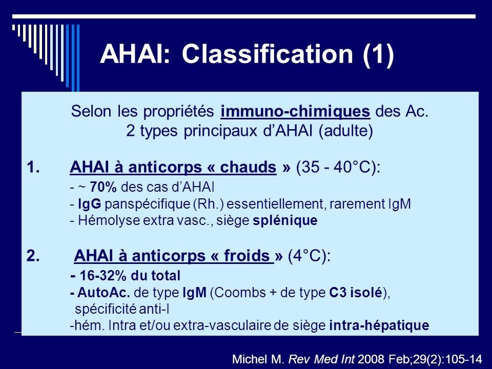 AHAI: Classification (1) Selon les propriétés immuno-chimiques des Ac. 2 types principaux dAHAI (adulte) 1. AHAI à anticorps « chauds » (35 - 40°C): -