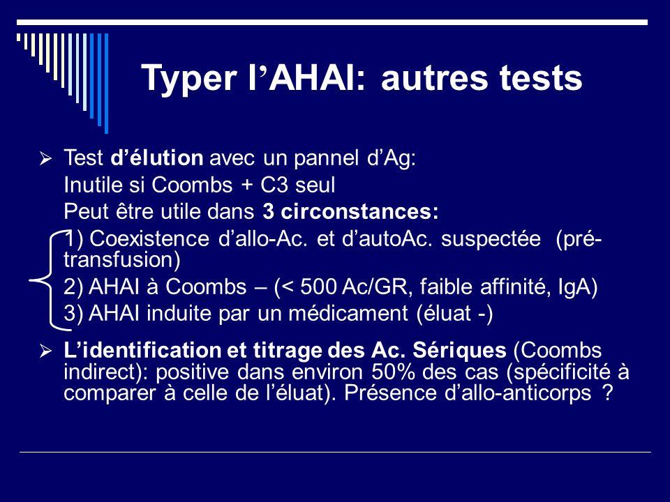 Typer l AHAI: autres tests Test délution avec un pannel dAg: Inutile si Coombs + C3 seul Peut être utile dans 3 circonstances: 1) Coexistence dallo-Ac
