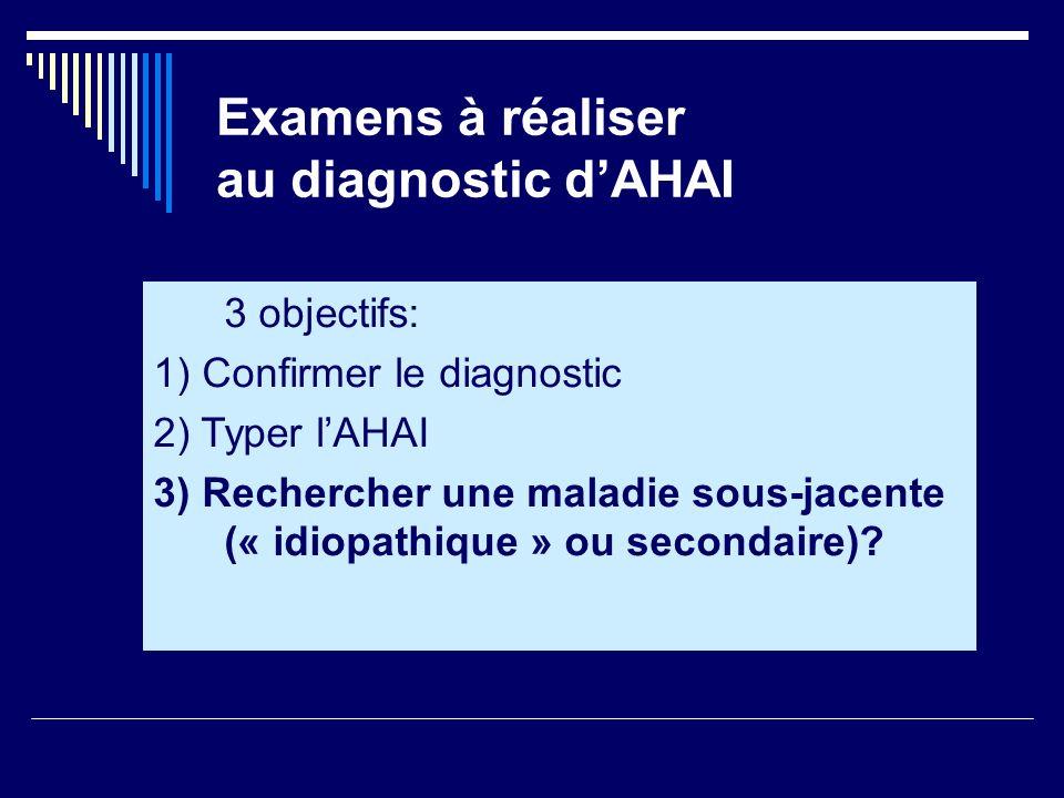 Examens à réaliser au diagnostic dAHAI 3 objectifs: 1) Confirmer le diagnostic 2) Typer lAHAI 3) Rechercher une maladie sous-jacente (« idiopathique »