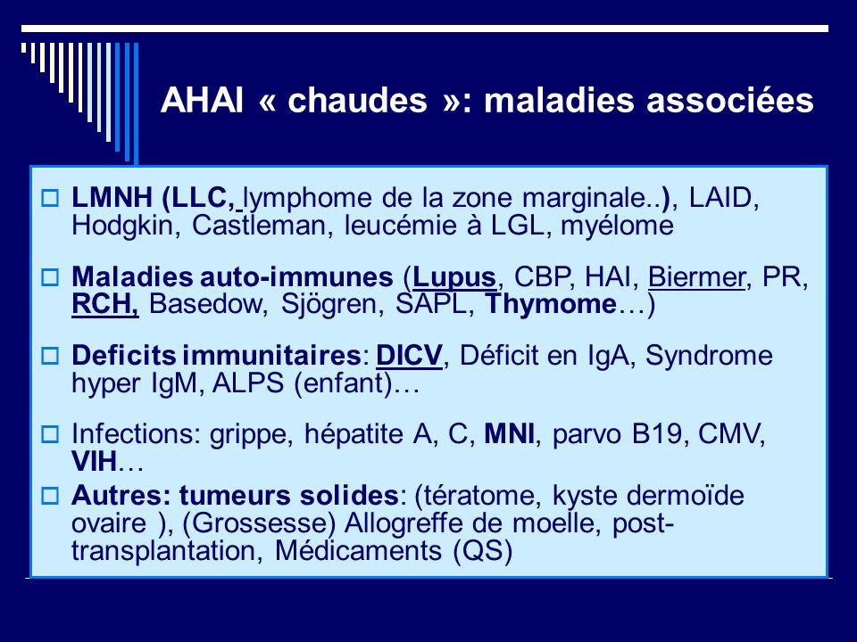 AHAI « chaudes »: maladies associées LMNH (LLC, lymphome de la zone marginale..), LAID, Hodgkin, Castleman, leucémie à LGL, myélome Maladies auto-immu