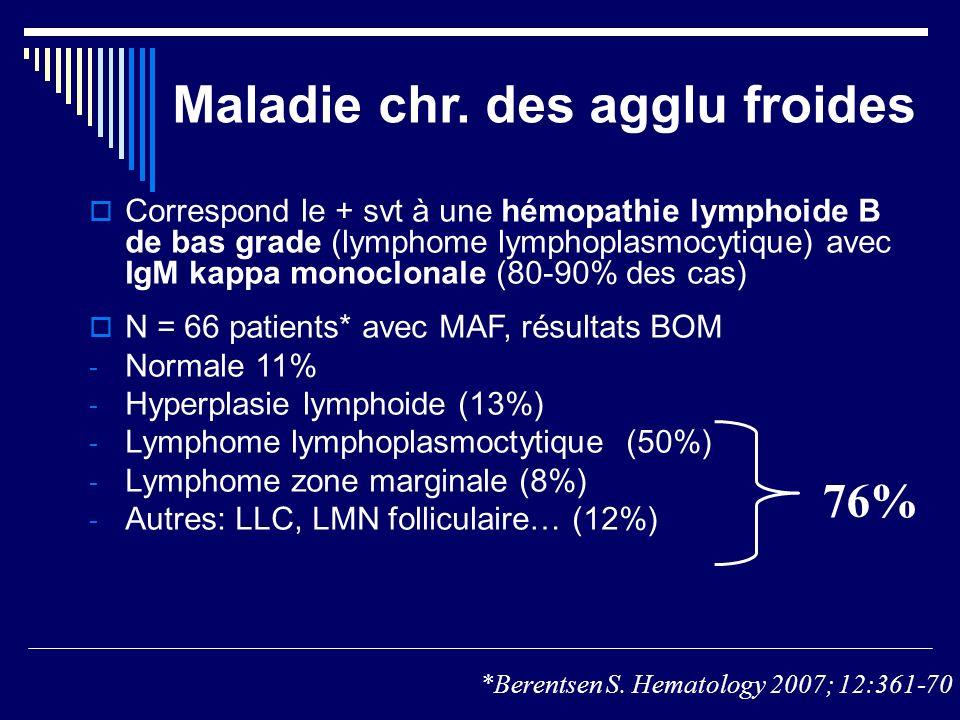 Maladie chr. des agglu froides Correspond le + svt à une hémopathie lymphoide B de bas grade (lymphome lymphoplasmocytique) avec IgM kappa monoclonale