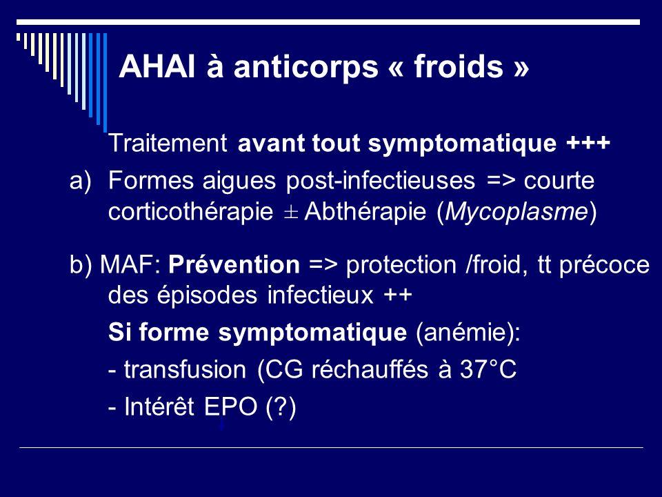 AHAI à anticorps « froids » Traitement avant tout symptomatique +++ a)Formes aigues post-infectieuses => courte corticothérapie ± Abthérapie (Mycoplas