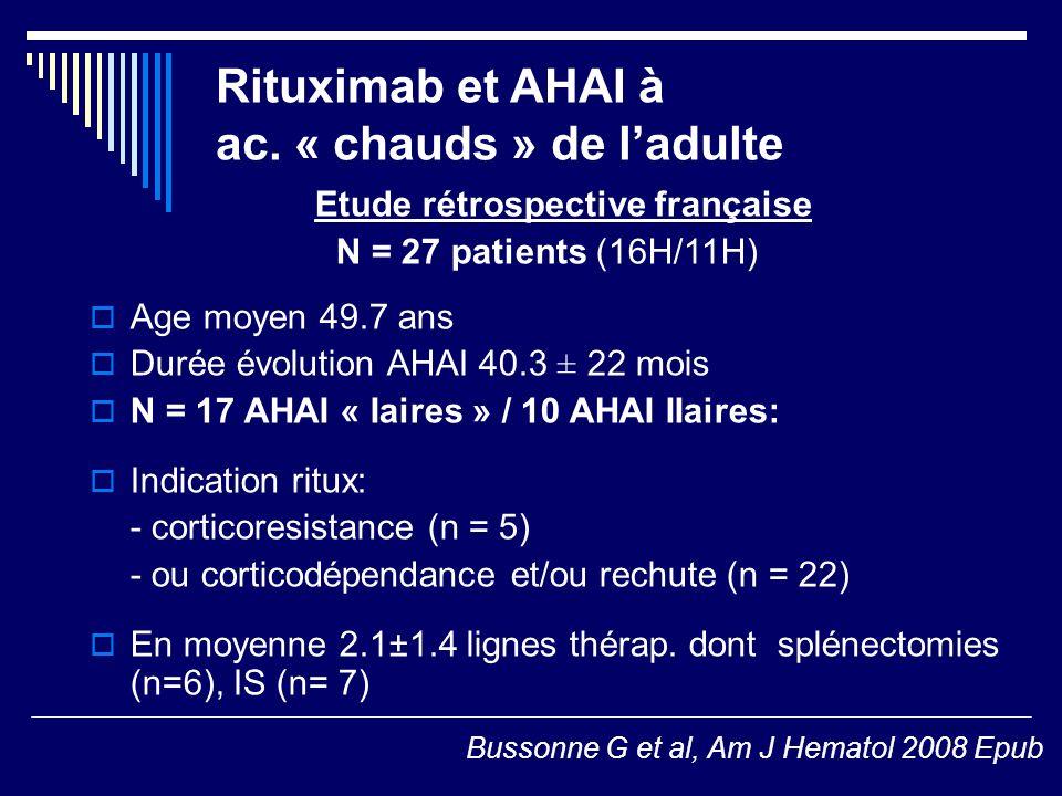 Rituximab et AHAI à ac. « chauds » de ladulte Etude rétrospective française N = 27 patients (16H/11H) Age moyen 49.7 ans Durée évolution AHAI 40.3 ± 2
