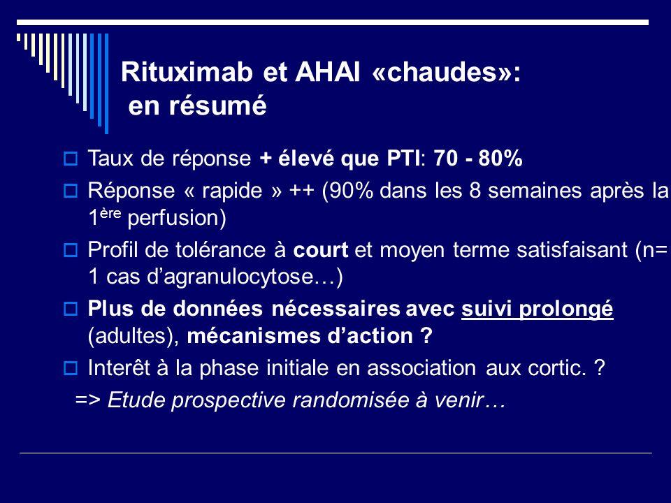 Rituximab et AHAI «chaudes»: en résumé Taux de réponse + élevé que PTI: 70 - 80% Réponse « rapide » ++ (90% dans les 8 semaines après la 1 ère perfusi