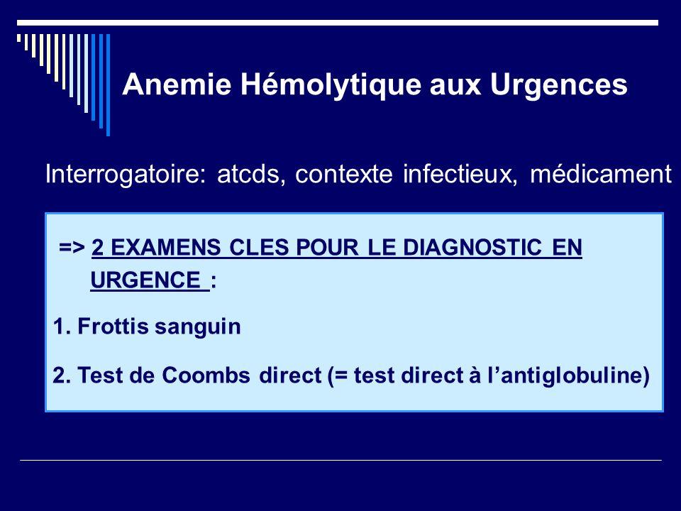 Anemie Hémolytique aux Urgences => 2 EXAMENS CLES POUR LE DIAGNOSTIC EN URGENCE : 1. Frottis sanguin 2. Test de Coombs direct (= test direct à lantigl