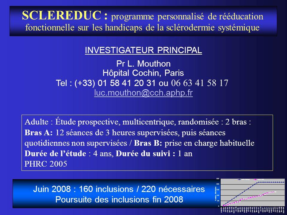 SCLEREDUC : programme personnalisé de rééducation fonctionnelle sur les handicaps de la sclérodermie systémique INVESTIGATEUR PRINCIPAL Pr L. Mouthon