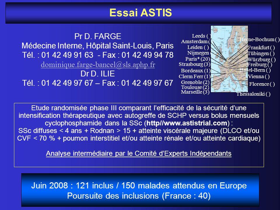 Essai ASTIS Pr D. FARGE Médecine Interne, Hôpital Saint-Louis, Paris Tél. : 01 42 49 91 63 - Fax : 01 42 49 94 78 dominique.farge-bancel@sls.aphp.fr D