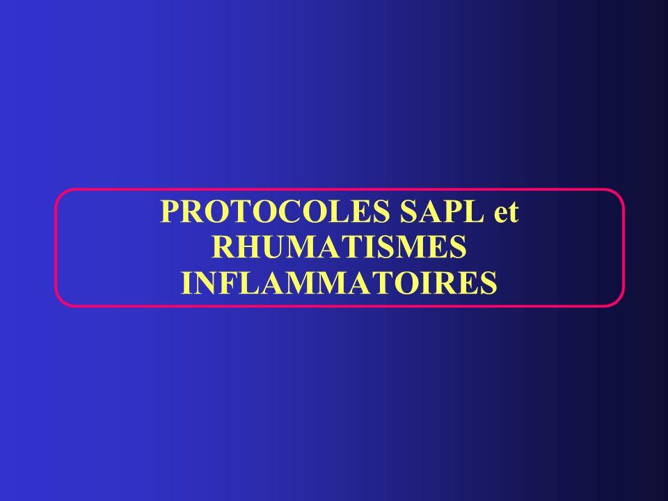 PROTOCOLES SAPL et RHUMATISMES INFLAMMATOIRES