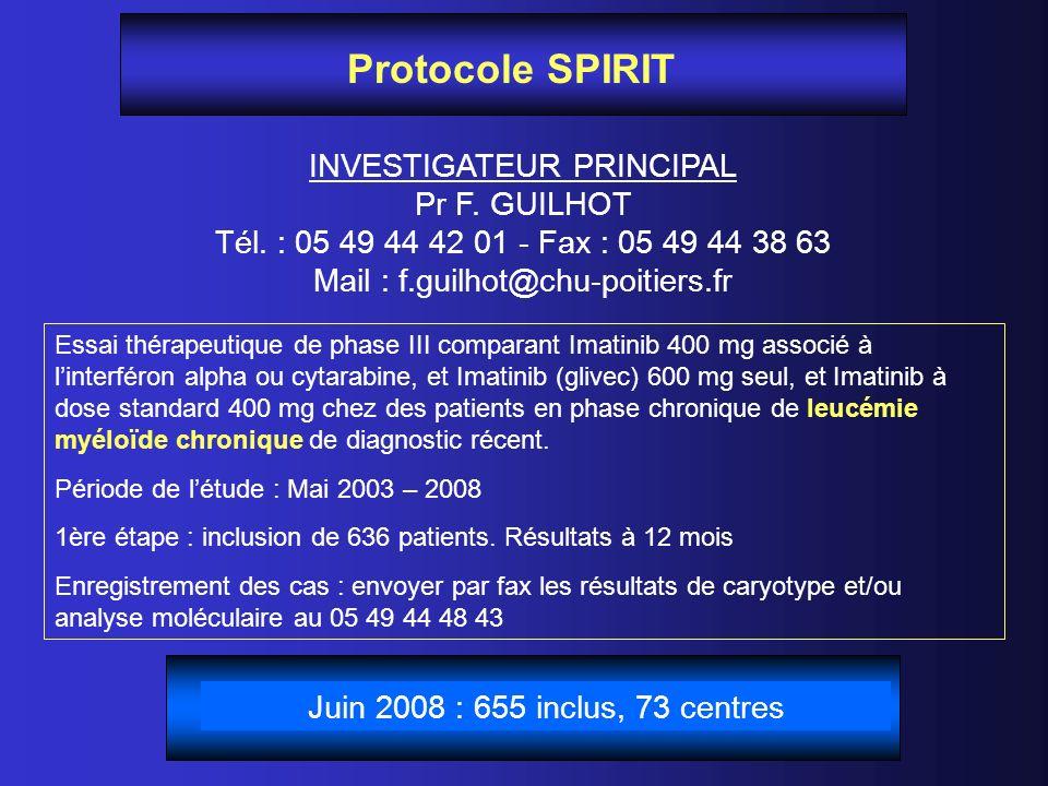 Protocole SPIRIT INVESTIGATEUR PRINCIPAL Pr F. GUILHOT Tél. : 05 49 44 42 01 - Fax : 05 49 44 38 63 Mail : f.guilhot@chu-poitiers.fr Essai thérapeutiq
