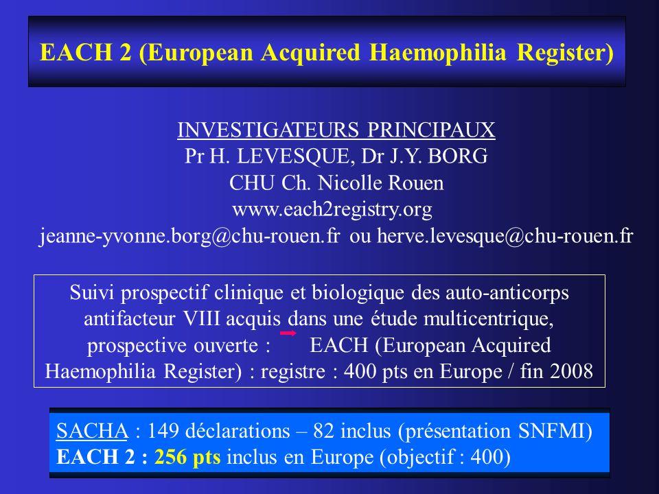 EACH 2 (European Acquired Haemophilia Register) INVESTIGATEURS PRINCIPAUX Pr H. LEVESQUE, Dr J.Y. BORG CHU Ch. Nicolle Rouen www.each2registry.org jea