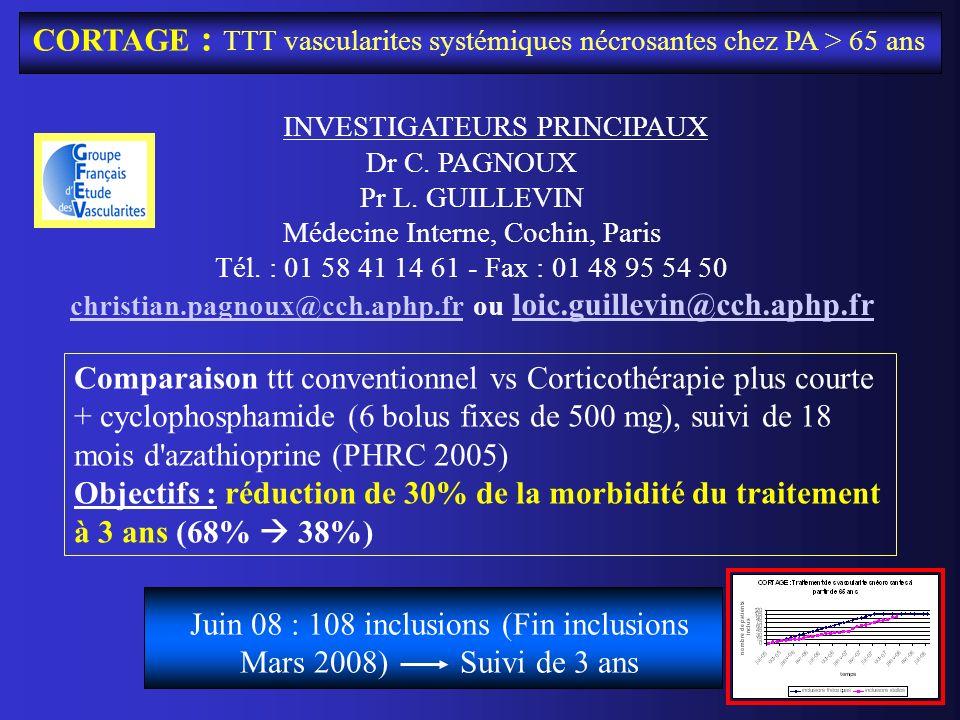 CORTAGE : TTT vascularites systémiques nécrosantes chez PA > 65 ans INVESTIGATEURS PRINCIPAUX Dr C. PAGNOUX Pr L. GUILLEVIN Médecine Interne, Cochin,