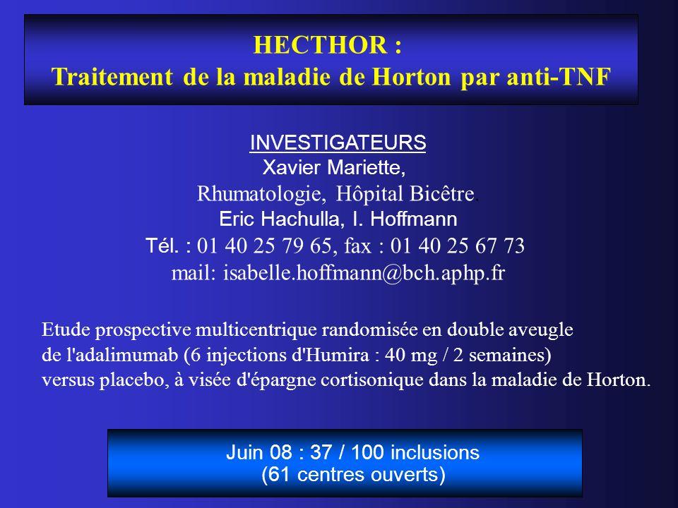 HECTHOR : Traitement de la maladie de Horton par anti-TNF INVESTIGATEURS Xavier Mariette, Rhumatologie, Hôpital Bicêtre. Eric Hachulla, I. Hoffmann Té