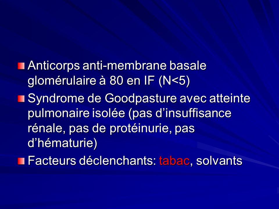 Anticorps anti-membrane basale glomérulaire à 80 en IF (N<5) Syndrome de Goodpasture avec atteinte pulmonaire isolée (pas dinsuffisance rénale, pas de protéinurie, pas dhématurie) Facteurs déclenchants: tabac, solvants
