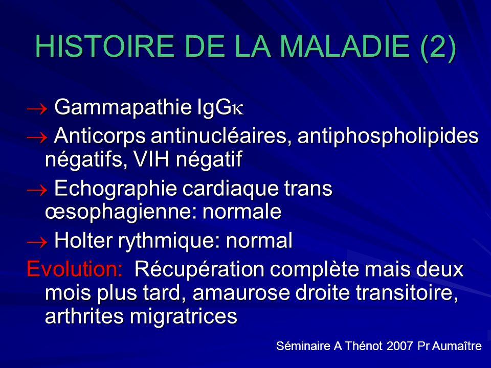 HISTOIRE DE LA MALADIE (2) Gammapathie IgG Gammapathie IgG Anticorps antinucléaires, antiphospholipides négatifs, VIH négatif Anticorps antinucléaires, antiphospholipides négatifs, VIH négatif Echographie cardiaque trans œsophagienne: normale Echographie cardiaque trans œsophagienne: normale Holter rythmique: normal Holter rythmique: normal Evolution: Récupération complète mais deux mois plus tard, amaurose droite transitoire, arthrites migratrices Séminaire A Thénot 2007 Pr Aumaître