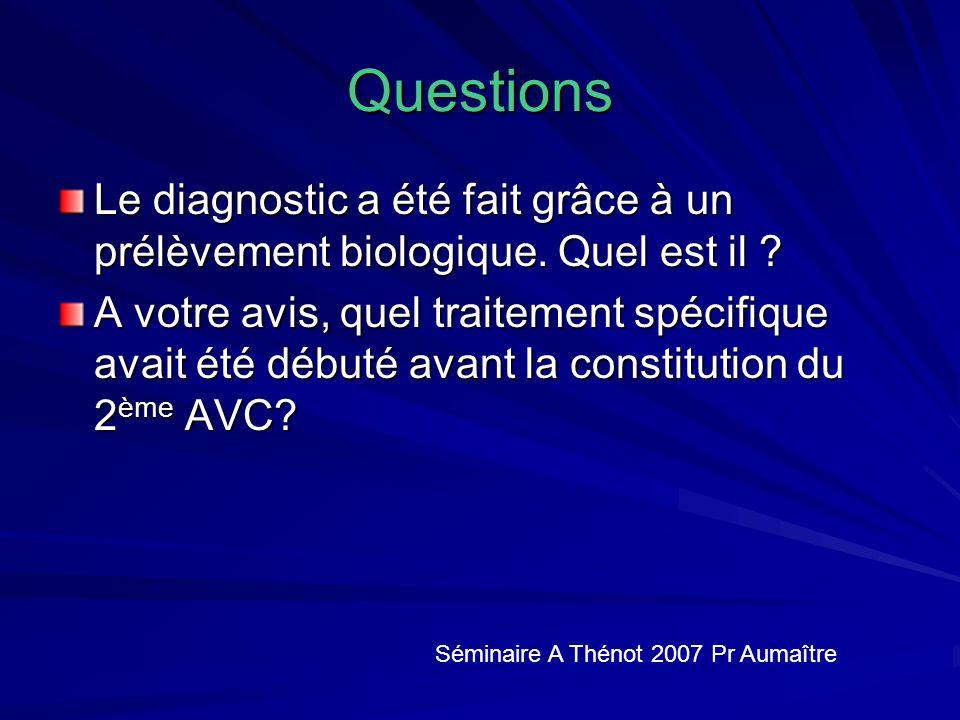 Questions Le diagnostic a été fait grâce à un prélèvement biologique.