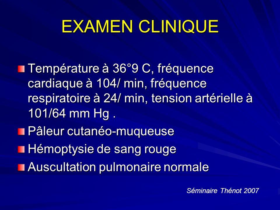 EXAMEN CLINIQUE Température à 36°9 C, fréquence cardiaque à 104/ min, fréquence respiratoire à 24/ min, tension artérielle à 101/64 mm Hg.