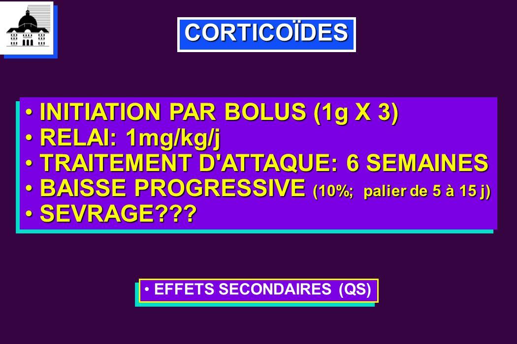 CORTICOÏDES INITIATION PAR BOLUS (1g X 3) INITIATION PAR BOLUS (1g X 3) RELAI: 1mg/kg/j RELAI: 1mg/kg/j TRAITEMENT D'ATTAQUE: 6 SEMAINES TRAITEMENT D'