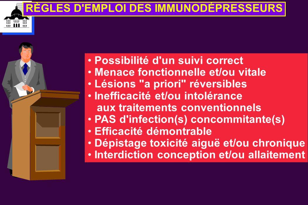 RÈGLES D'EMPLOI DES IMMUNODÉPRESSEURS Possibilité d'un suivi correct Menace fonctionnelle et/ou vitale Lésions