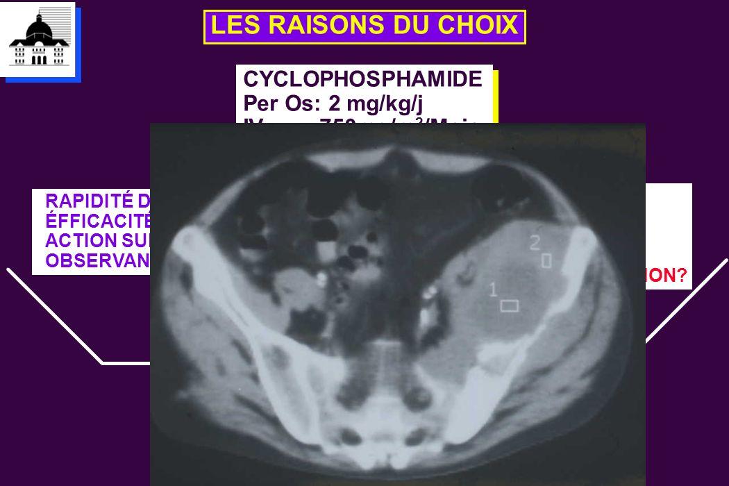 LES RAISONS DU CHOIX CYCLOPHOSPHAMIDE Per Os: 2 mg/kg/j IV: 750mg/m 2 /Mois CYCLOPHOSPHAMIDE Per Os: 2 mg/kg/j IV: 750mg/m 2 /Mois RAPIDITÉ D'ACTION E