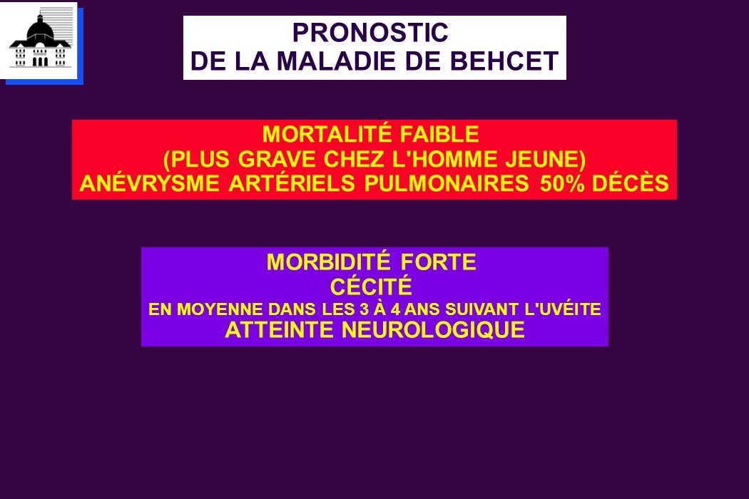 PRONOSTIC DE LA MALADIE DE BEHCET MORTALITÉ FAIBLE (PLUS GRAVE CHEZ L'HOMME JEUNE) ANÉVRYSME ARTÉRIELS PULMONAIRES 50% DÉCÈS MORBIDITÉ FORTE CÉCITÉ EN