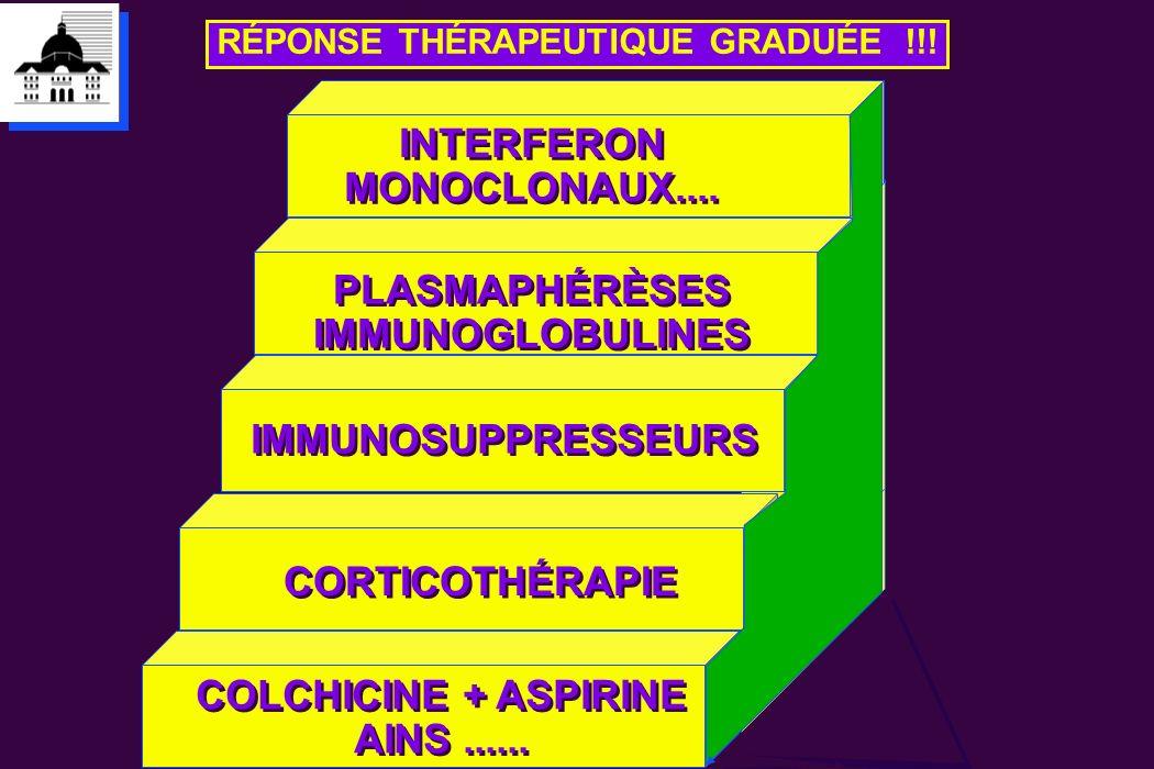 CORTICOTHÉRAPIE IMMUNOSUPPRESSEURS RÉPONSE THÉRAPEUTIQUE GRADUÉE !!! COLCHICINE + ASPIRINE AINS...... COLCHICINE + ASPIRINE AINS...... PLASMAPHÉRÈSES