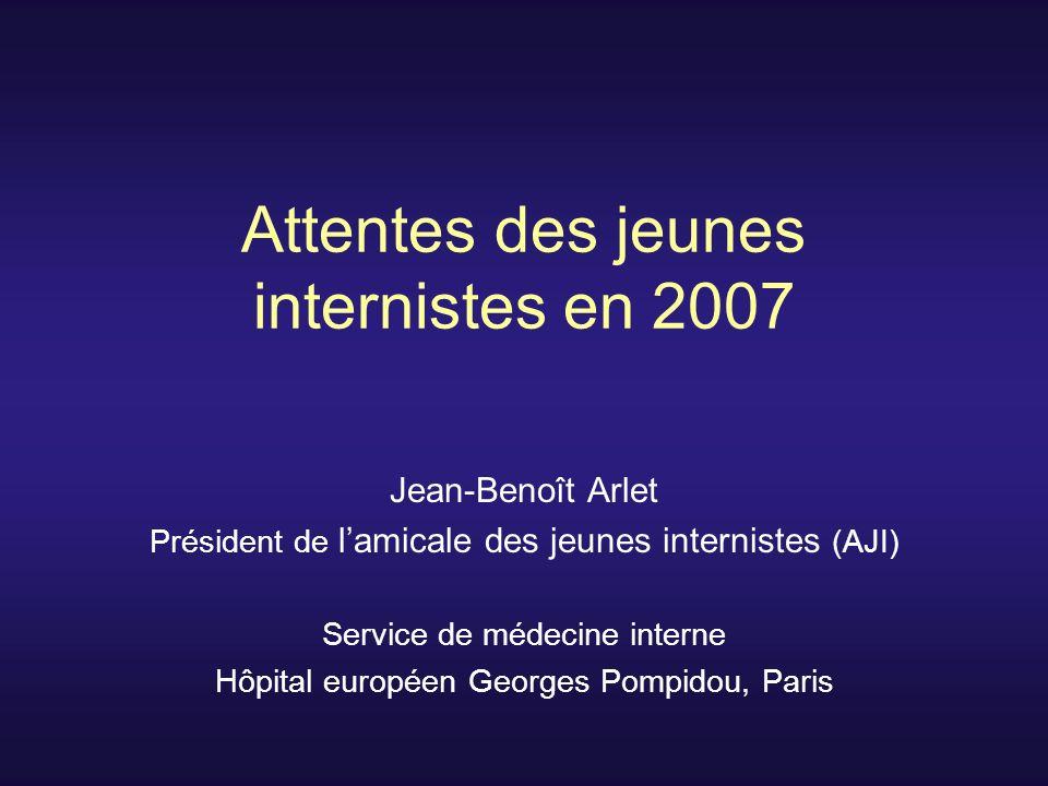 Attentes des jeunes internistes en 2007 Jean-Benoît Arlet Président de lamicale des jeunes internistes (AJI) Service de médecine interne Hôpital européen Georges Pompidou, Paris