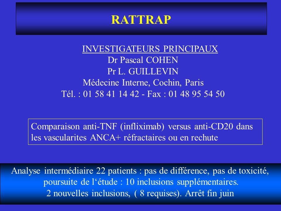 RATTRAP INVESTIGATEURS PRINCIPAUX Dr Pascal COHEN Pr L. GUILLEVIN Médecine Interne, Cochin, Paris Tél. : 01 58 41 14 42 - Fax : 01 48 95 54 50 Analyse