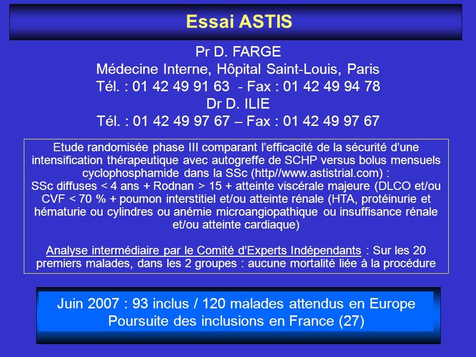 Essai ASTIS Pr D. FARGE Médecine Interne, Hôpital Saint-Louis, Paris Tél. : 01 42 49 91 63 - Fax : 01 42 49 94 78 Dr D. ILIE Tél. : 01 42 49 97 67 – F