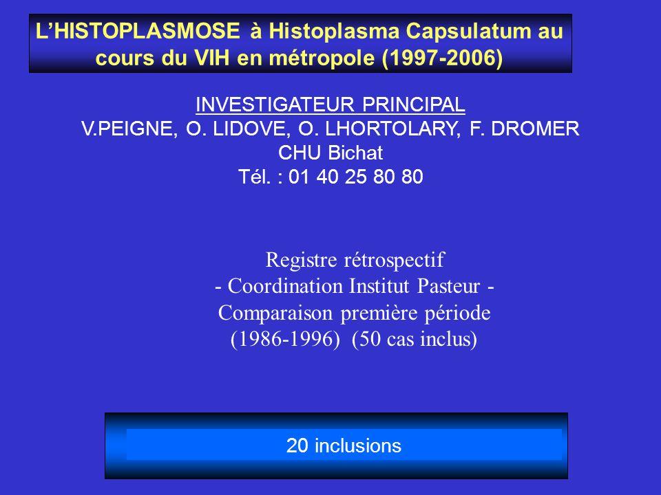 LHISTOPLASMOSE à Histoplasma Capsulatum au cours du VIH en métropole (1997-2006) INVESTIGATEUR PRINCIPAL V.PEIGNE, O. LIDOVE, O. LHORTOLARY, F. DROMER