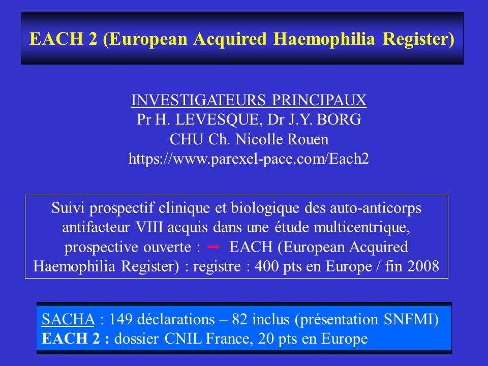 EACH 2 (European Acquired Haemophilia Register) INVESTIGATEURS PRINCIPAUX Pr H. LEVESQUE, Dr J.Y. BORG CHU Ch. Nicolle Rouen https://www.parexel-pace.