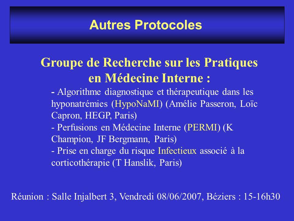 Autres Protocoles Groupe de Recherche sur les Pratiques en Médecine Interne : - Algorithme diagnostique et thérapeutique dans les hyponatrémies (HypoN