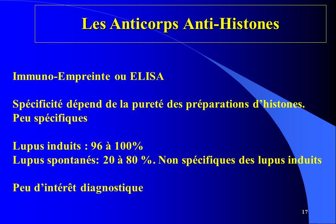 17 Les Anticorps Anti-Histones Immuno-Empreinte ou ELISA Spécificité dépend de la pureté des préparations dhistones. Peu spécifiques Lupus induits : 9