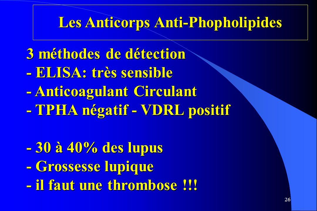 26 Les Anticorps Anti-Phopholipides 3 méthodes de détection - ELISA: très sensible - Anticoagulant Circulant - TPHA négatif - VDRL positif - 30 à 40%
