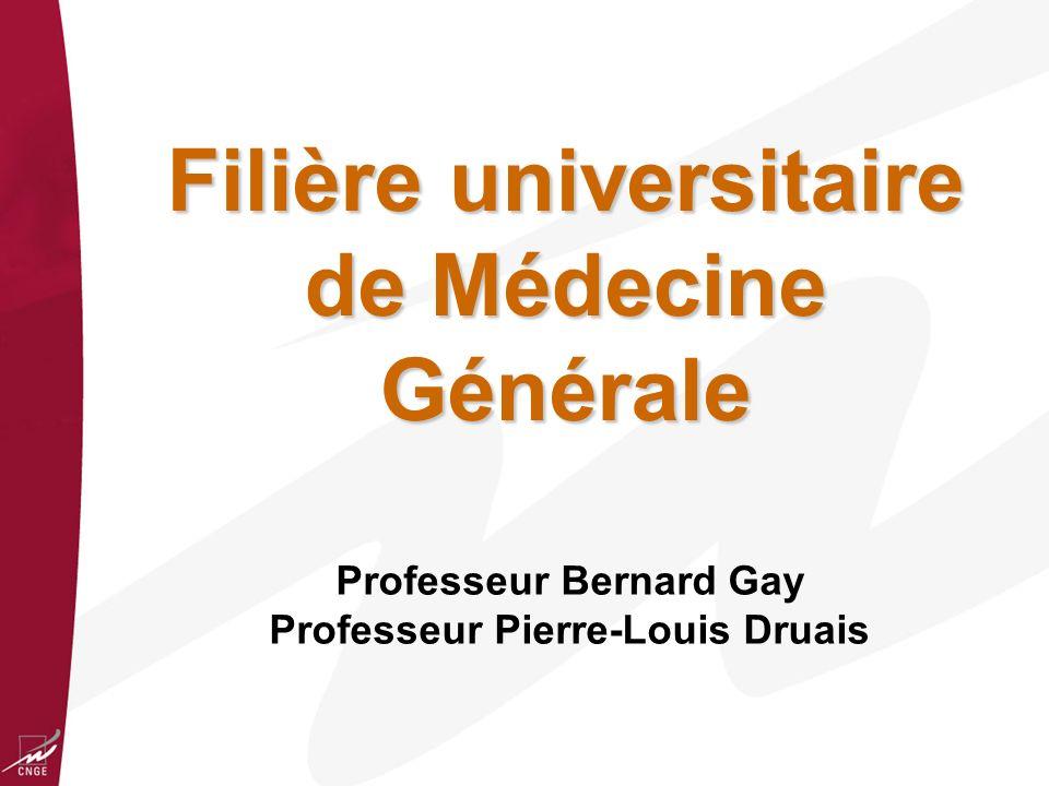 Filière universitaire de Médecine Générale Professeur Bernard Gay Professeur Pierre-Louis Druais