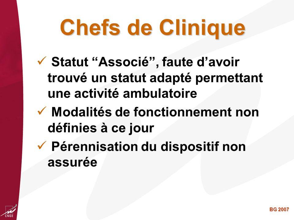 BG 2007 Chefs de Clinique Statut Associé, faute davoir trouvé un statut adapté permettant une activité ambulatoire Modalités de fonctionnement non définies à ce jour Pérennisation du dispositif non assurée
