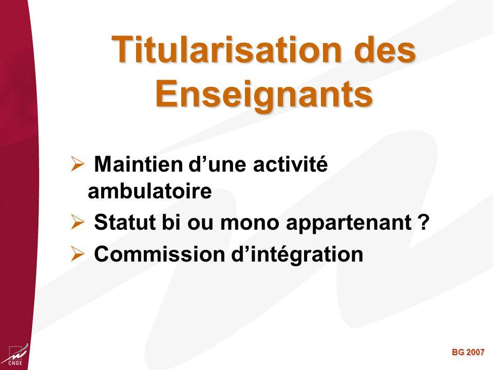 BG 2007 Titularisation des Enseignants Maintien dune activité ambulatoire Statut bi ou mono appartenant .