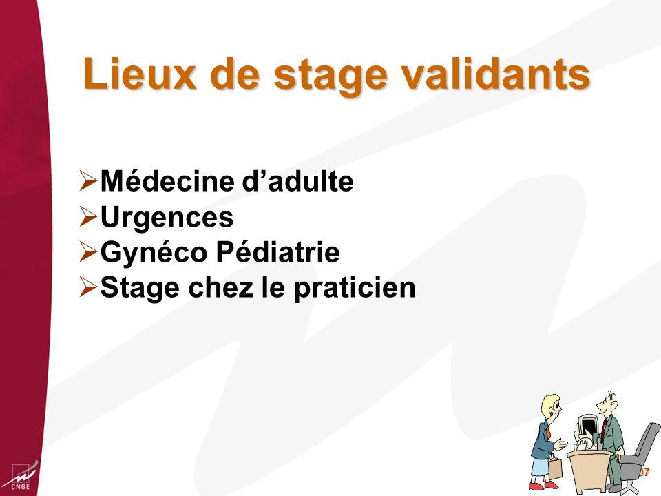 BG 2007 Lieux de stage validants Médecine dadulte Urgences Gynéco Pédiatrie Stage chez le praticien